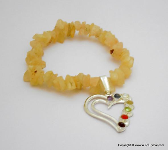 Yellow Aventurine Chakra Bracelet Charm Amulet Heart