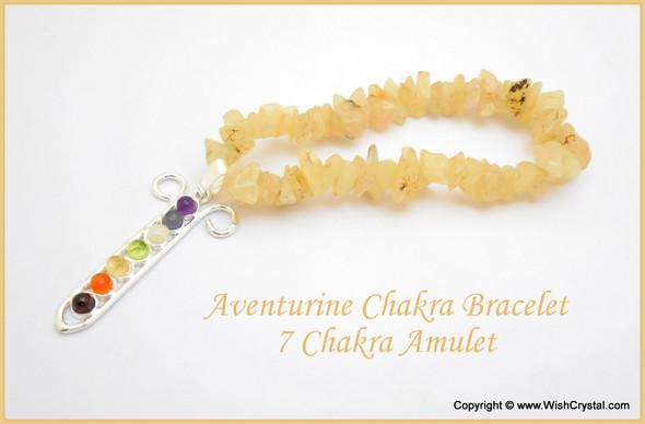 Yellow Aventurine Chakra Bracelet Charm Amulet Chakra Grid