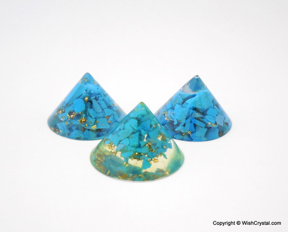 Turquoise Orgonite Conical Pyramid