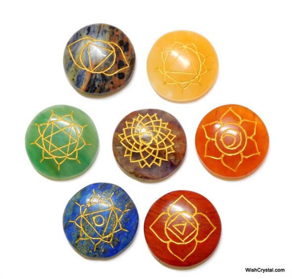 Reiki Chakra Stone Set Engraved with Reiki Signs - Disc Shape