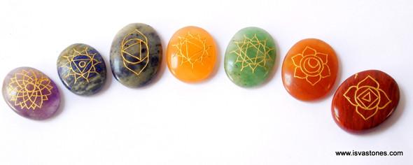 Reiki Chakra Stone Set Engraved with Reiki Signs - Oval Shape