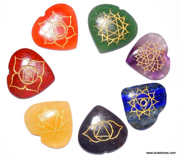 Reiki Chakra Stone Set Engraved with Reiki Signs - Heart Shape
