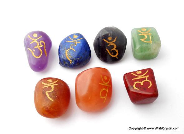 Reiki Chakra Stone Set Engraved with Reiki Signs - Tumble Set