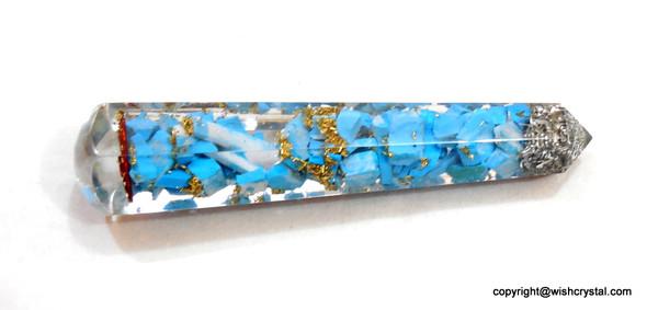Tuquoise Stones Orgonite Wand Raw stone Massage