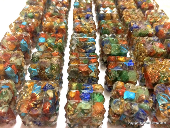 Lot of 25 Orgonite Cube points for Energy 7 Chakra Stones filled Aura Energy Generators