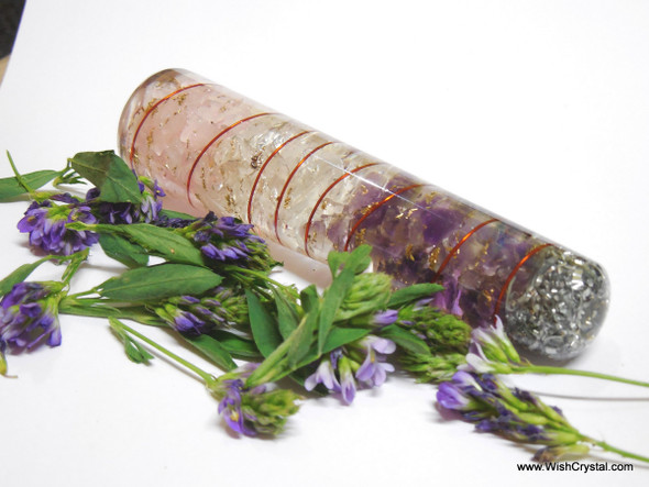 Rose, Amethyst & Crystal Layered Orgone Massage Wand - Coil