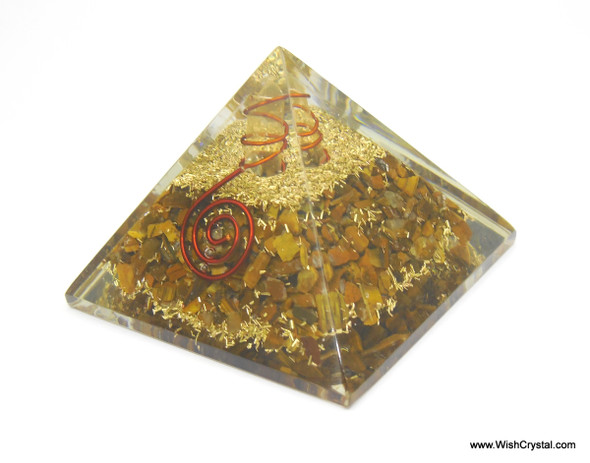 Tiger Eye Orgonite Pyramid with Crystal Point & Copper Coil
