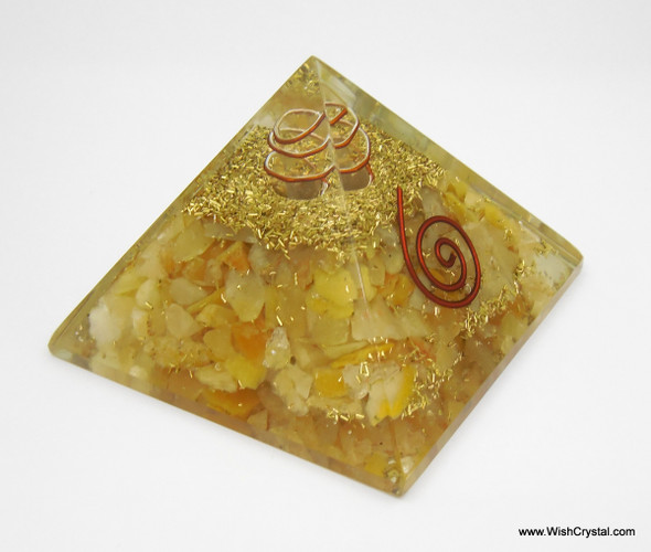 Yellow Aventurine Orgonite Pyramid with Crystal Point & Copper Coil