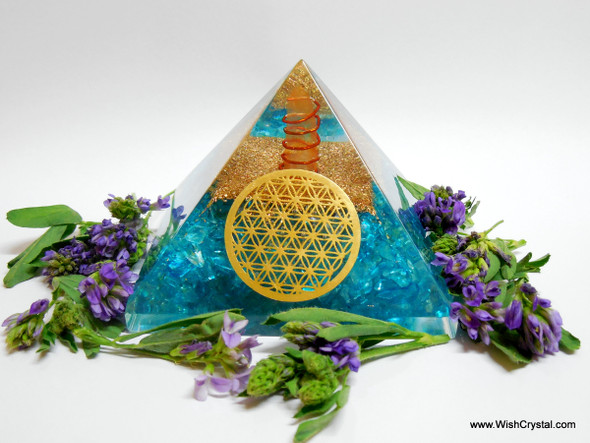 Blue Orgonite Pyramid with Crystal Point & Copper Coil