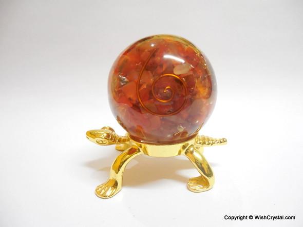 Red Carnelian Orgonite Sphere EMF Protection Healing