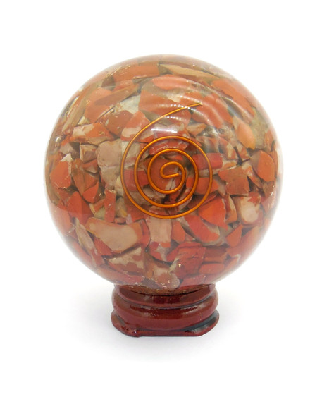 Red Jasper Orgonite Sphere EMF Protection Healing - 60 mm