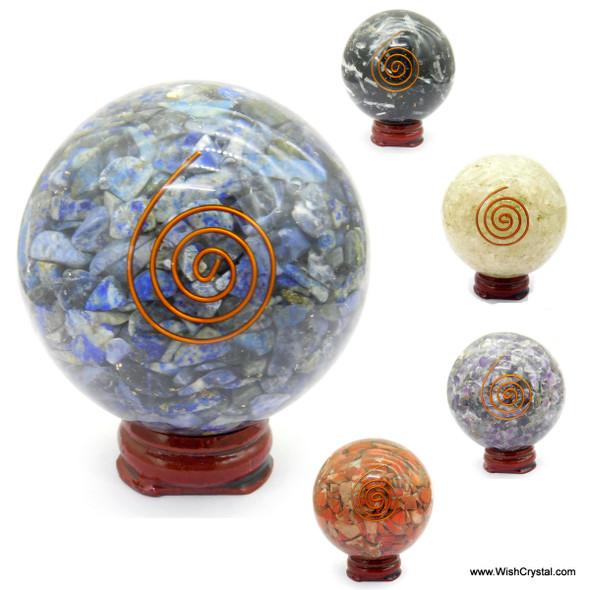 Crystal Quartz Orgonite Sphere EMF Protection Healing - 60 mm
