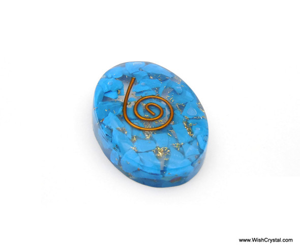 Halo Turquoise Orgonite Oval Worry Stone