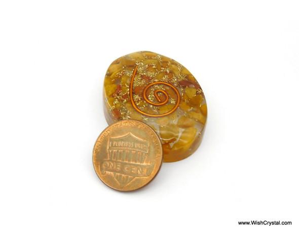 Yellow Aventurine Orgonite Oval Worry Stone