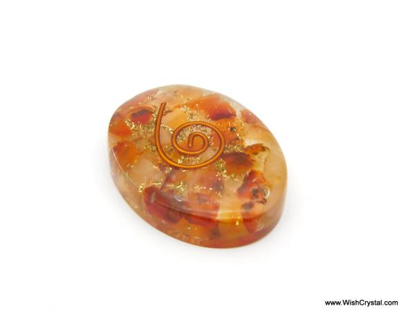 Carnelian Aventurine Orgonite Oval Worry Stone