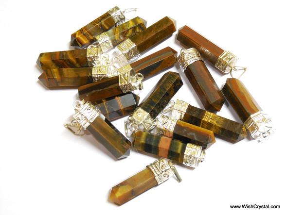 Lot of 50 Tiger Eye Point Pendants for Reiki Crystal Healing