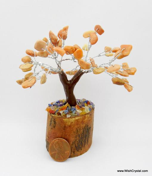 Orange Aventurine Gem Tree Petite Natural Crystal Bonsai Tree - 4-inch