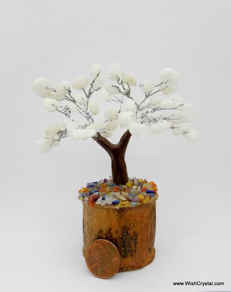 White Quartz Gem Tree Petite Natural Crystal Bonsai Tree - 4-inch