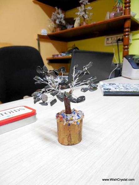 Black Jasper Gem Tree Petite Natural Crystal Bonsai Tree - 4-inch