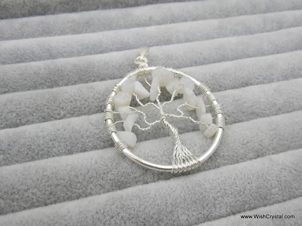 White Quartz Tree of Life Pendant - Round