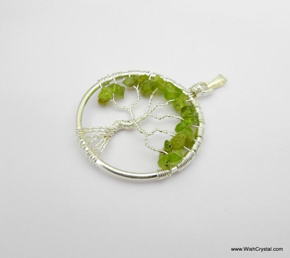 Peridot Tree of Life Pendant - Round