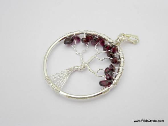 Garnet Tree of Life Pendant - Round