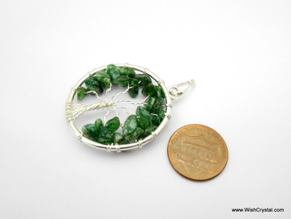 Green Aventurine Tree of Life Pendant - Round