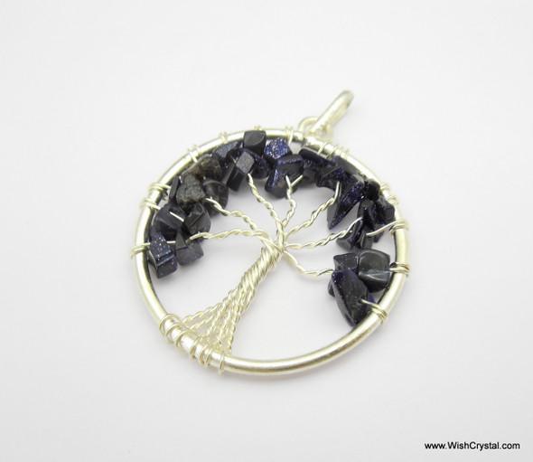 Mystic Blue Tree of Life Pendant - Round