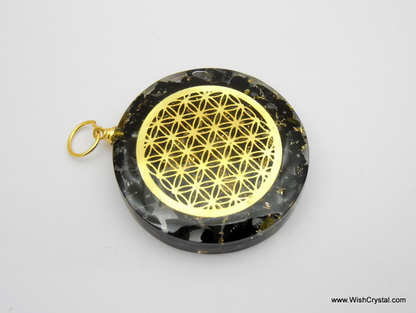 Black Tourmaline Orgonite Infinity Metal Pendant