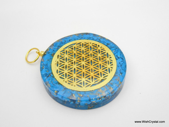 Halo Turquoise Orgonite pendant with Infinity metal