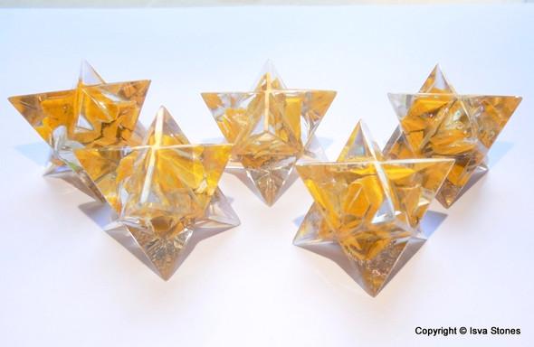 Orgone Merkaba Star Yellow Aventurine Scaral Chakra Orgonite Merkaba Star