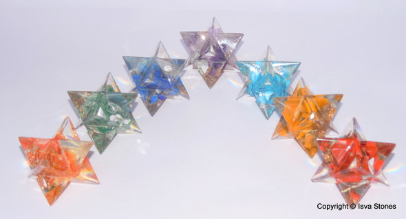 Lot of 10 Orgone Merkaba Chakra Set Orgonite Merkaba Chakra Stars
