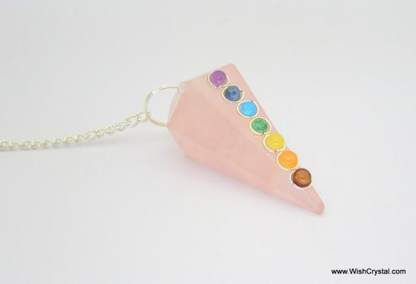 Chakra Stone Crystal Pendulum - Rose Quartz