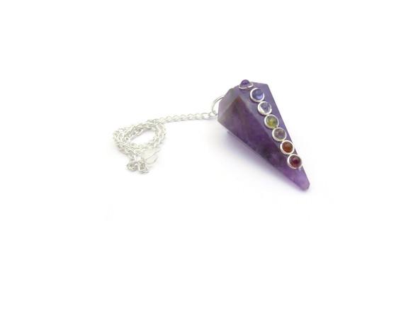 Chakra Stone Crystal Pendulum - Amethyst