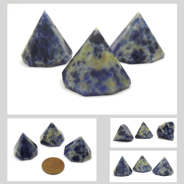 Sodalite Faceted Cone Pyramid - 18 to 20 mm
