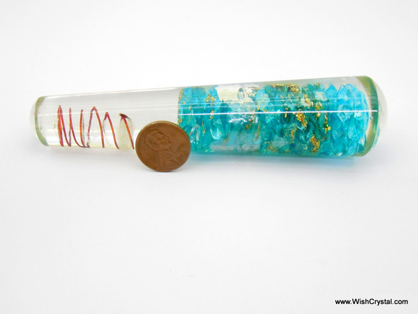 Blue chips  with Crystal Point Orgonite Wand