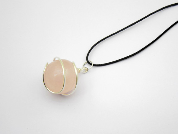 Rose Quartz Sphere / Ball Wire Wrapped Pendant