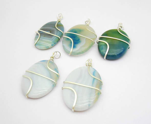 Blue Agate Oval wire wrap pendant