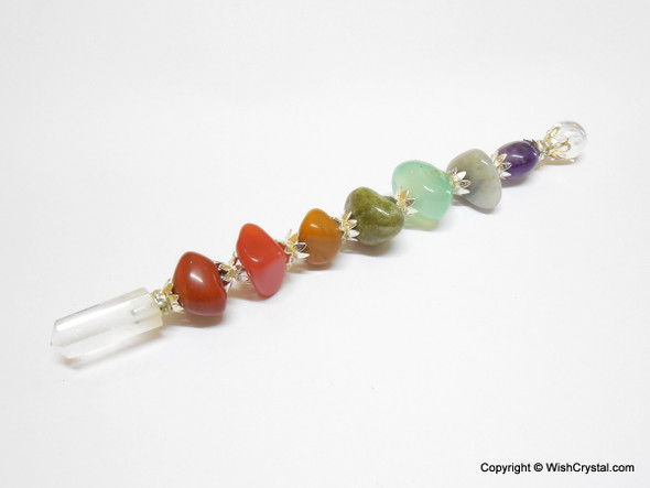 Chakra Stones Tumbled Wand with Metal Crafting