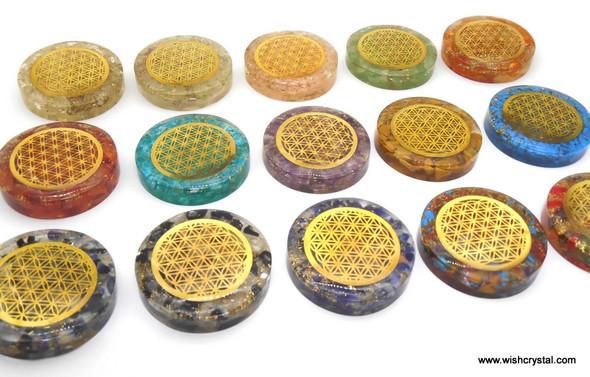 Yellow Quartz Orgonite Disc with infinity metal - 1 1/2 inch diameter