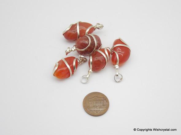 Red Carnelian Tumble Wire wrap pendant
