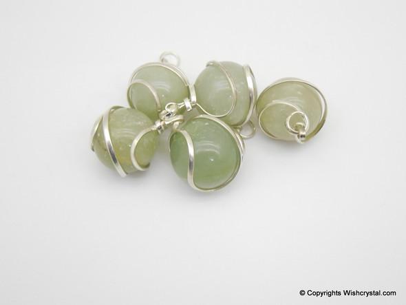Green Aventurine sphere / ball wire wrap pendant