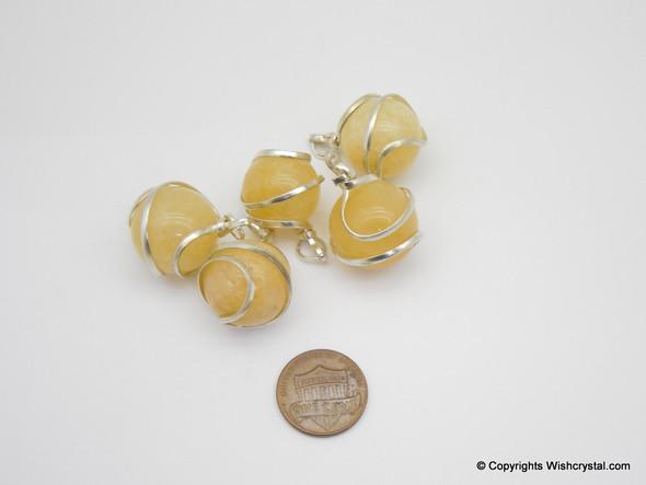 Yellow Aventurine sphere / ball wire wrap pendant