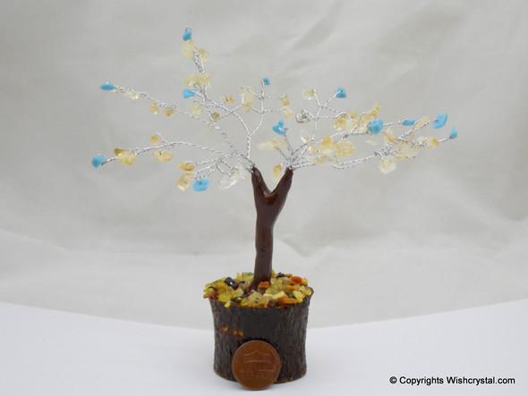 Citrine & Turquoise Gem Tree 4-inch