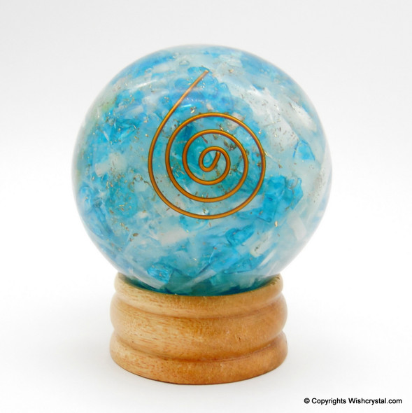 Blue Crystal & Selenite Orgonite Sphere EMF Protection Healing - 60 mm