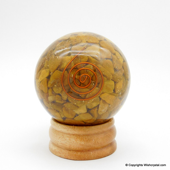 Yellow Aventurine Orgonite Sphere EMF Protection Healing - 60 mm
