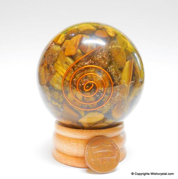 Tiger Eye Orgonite Sphere EMF Protection Healing - 60 mm