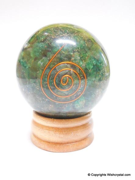 Green Aventurine Orgonite Sphere EMF Protection Healing - 60 mm