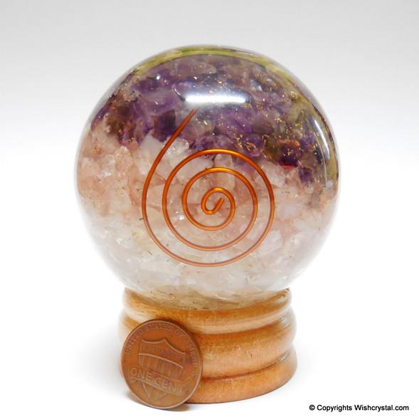 Amethyst, Rose Quartz & Crystal Orgonite Sphere EMF Protection Healing - 60 mm