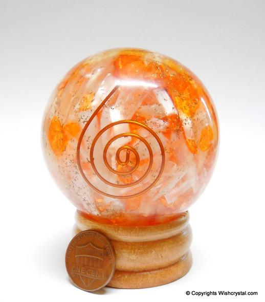 Red Carnelian & Celenite Orgonite Sphere EMF Protection Healing - 60 mm